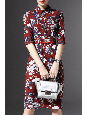 Half Sleeve Floral Print Sheath Dress - Red M