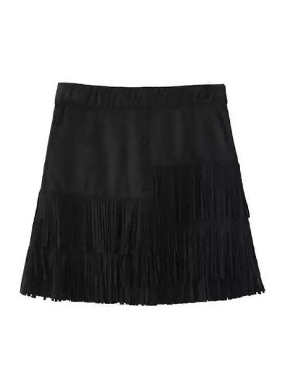 buy Tassels Spliced Suede Black Skirt - BLACK S