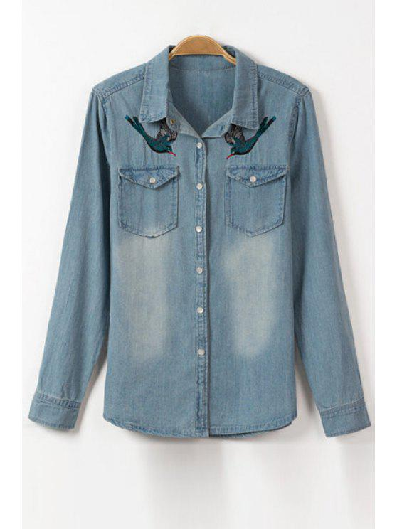 Bordado de pássaro Camisola de manga comprida de manga comprida - Azul de Gelo S