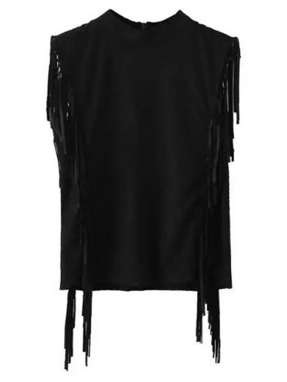 Franges Mock Neck manches en daim T-shirt - Noir M