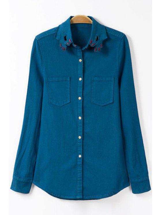 affordable Embroidery Shirt Collar Long Sleeve Shirt - BLUE S