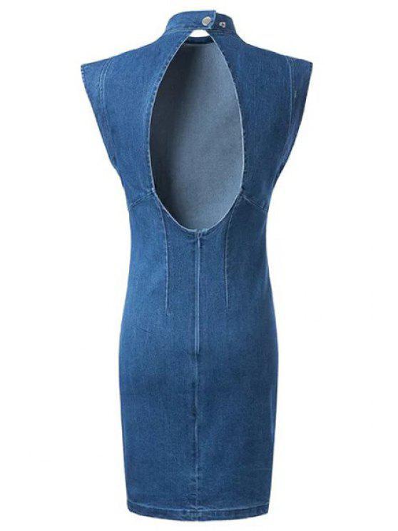 عارية الذراعين حامل الرقبة BODYCON الدينيم اللباس - أزرق L