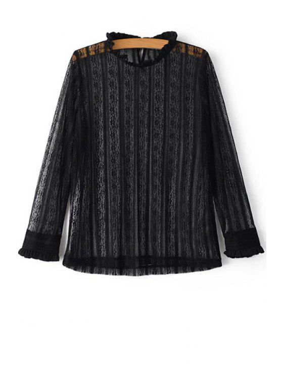 lady Solid Color Ruffled Collar Long Sleeve Lace T-Shirt - BLACK L