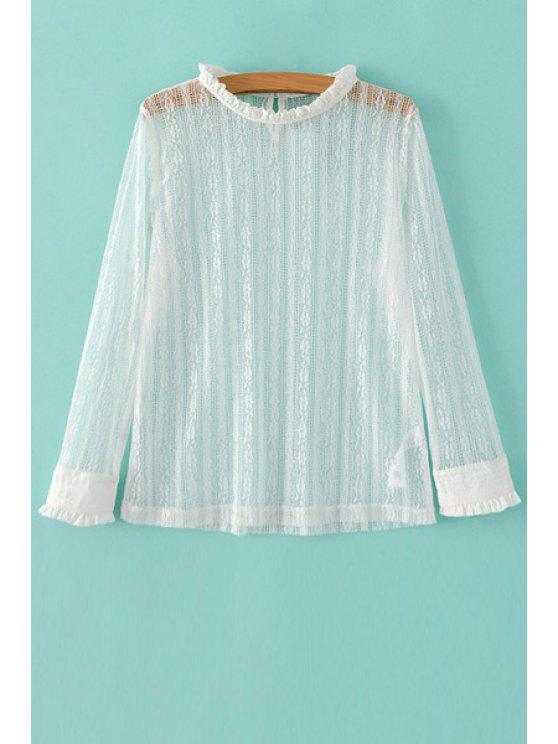 womens Solid Color Ruffled Collar Long Sleeve Lace T-Shirt - WHITE M