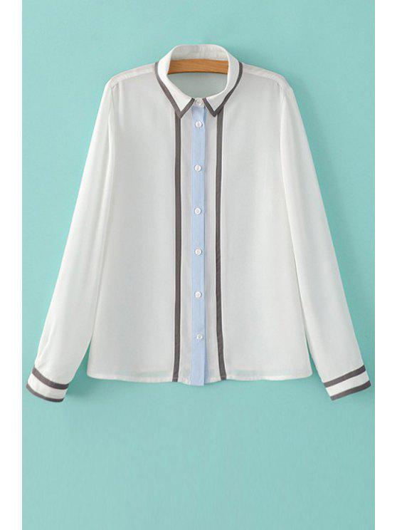 Color Block shirt ras du cou à manches longues - Blanc M
