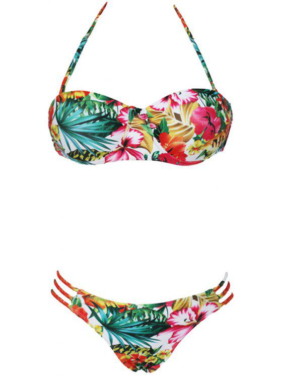 ddeae1b8edf4 Flower Print Halter Bikini Set