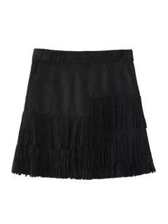 Tassels Spliced Suede Black Skirt - Black S