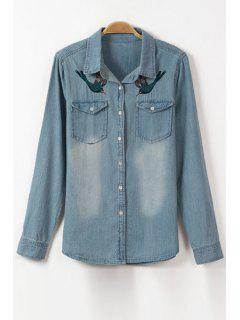 Bird Embroidery Flat Collar Long Sleeve Denim Shirt - Ice Blue S