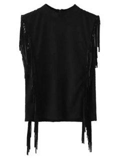 Gamuza Mangas Franjas Medio Cuello De La Camiseta - Negro M
