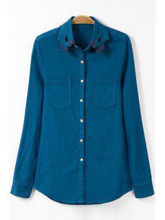 Bordado Camisa De Cuello Camisa De Manga Larga - Azul S