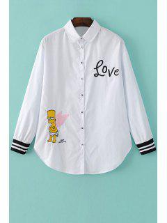 Stripe Spliced Shirt Collar Embroidery Shirt - White L