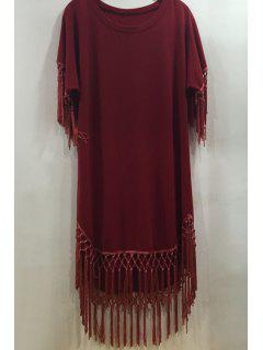 Tassels Spliced Round Collar Short Sleeve Solid Color Dress - Red Xl