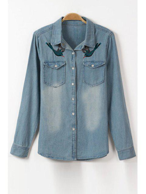 outfits Bird Embroidery Flat Collar Long Sleeve Denim Shirt - ICE BLUE S Mobile