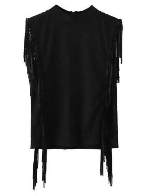 Fringes Mock Neck Sleeveless Suede T-Shirt - Schwarz M Mobile