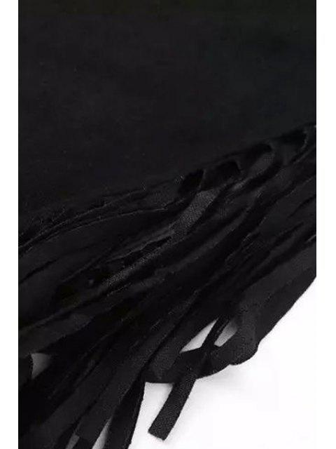 Franges Mock Neck manches en daim T-shirt - Noir M Mobile
