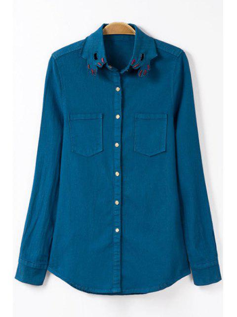 affordable Embroidery Shirt Collar Long Sleeve Shirt - BLUE S Mobile