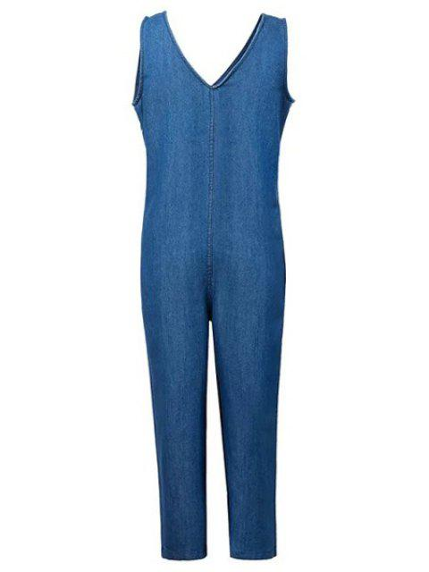 chic Loose Fitting Plunging Neck Denim Jumpsuit - ICE BLUE L Mobile