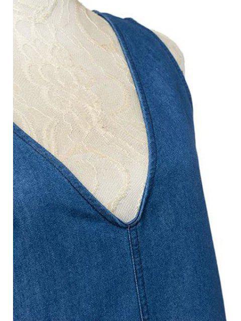 fashion Loose Fitting Plunging Neck Denim Jumpsuit - ICE BLUE M Mobile