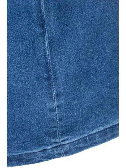 Backless stand Neck moulante Denim Dress - Bleu L Mobile