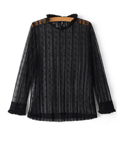 Solide Couleur col jabot long T-shirt en dentelle à manches - Noir L Mobile