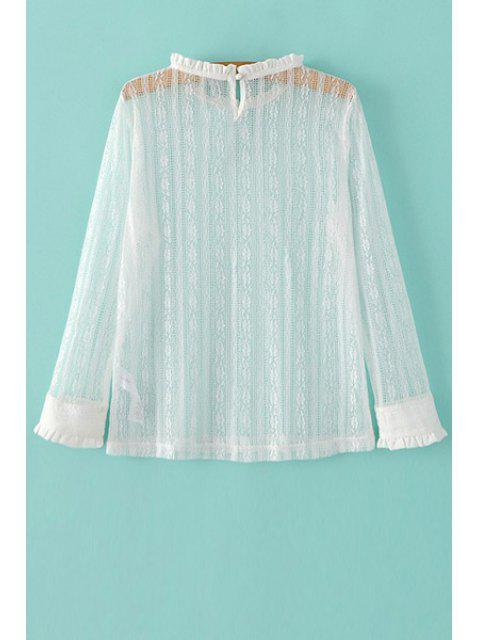 womens Solid Color Ruffled Collar Long Sleeve Lace T-Shirt - WHITE M Mobile