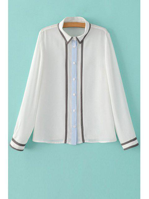 shops Color Block Shirt Neck Long Sleeve Shirt - WHITE M Mobile