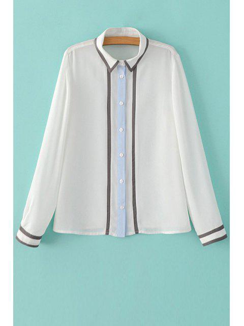 Color Block shirt ras du cou à manches longues - Blanc M Mobile