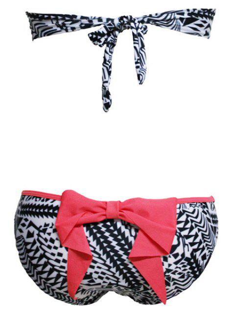 best Print Bowknot Strapless Bikini Set - RED WITH BLACK S Mobile