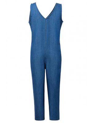 Amples Plongeant Cou Denim Jumpsuit - Bleu Glacé M