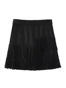 Borlas Empalmado Falda Negro Suede - Negro S