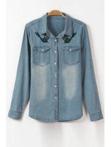 Bird Embroidery Flat Collar Long Sleeve Denim Shirt - Ice Blue S