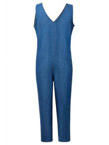 Loose Fitting Plunging Neck Denim Jumpsuit - Ice Blue M