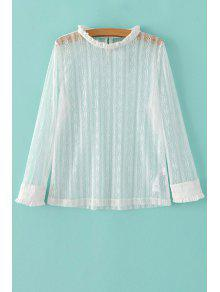 Solid Color Ruffled Collar Long Sleeve Lace T-Shirt - White M
