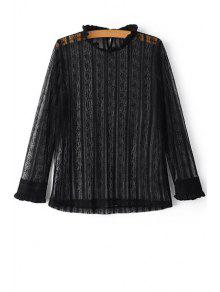 Solid Color Ruffled Collar Long Sleeve Lace T-Shirt - Black L