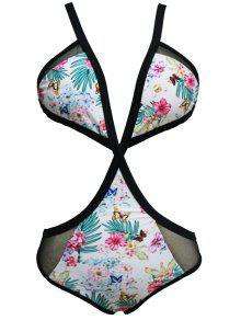 الأزهار طباعة كامي من قطعة واحدة ملابس السباحة - S