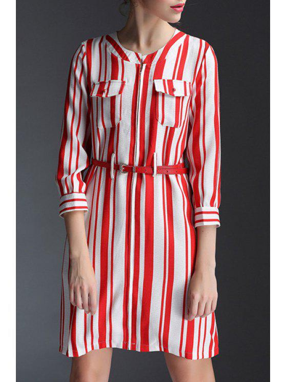 42847c716f7 2019 3 4 Sleeve Vertical Stripes Belted Dress In RED WITH WHITE L ...