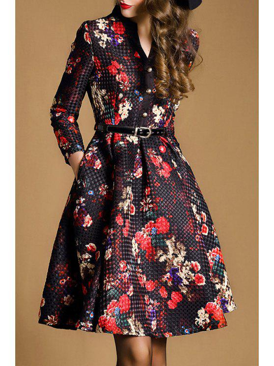 women Floral V Neck Nine-Minute Sleeves Flare Dress - RED WITH BLACK XL