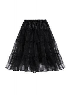 Elastic Waist Tiered Underskirt Petticoat - Black M
