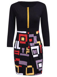 Printed Spliced Round Neck 3/4 Sleeve Zipper Dress - Black M