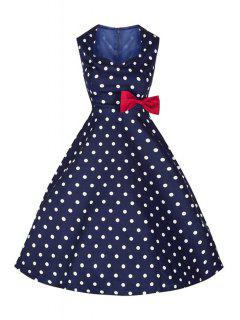 Polka Dot Bowknot Jewel Neck Sleeveless Dress - Purplish Blue Xl