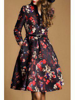 Floral V Neck Nine-Minute Sleeves Flare Dress - Red With Black Xl