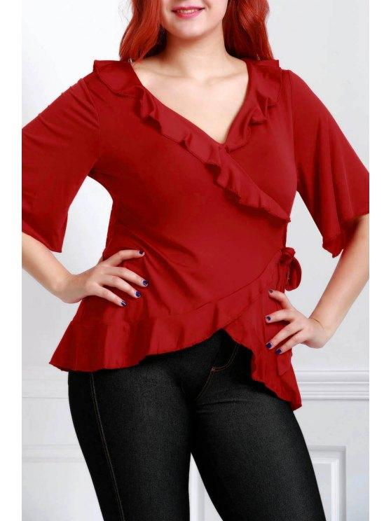 أنيق بلون نقي اللون بالاضافة الى حجم بلوزة للنساء - احمر غامق 5XL