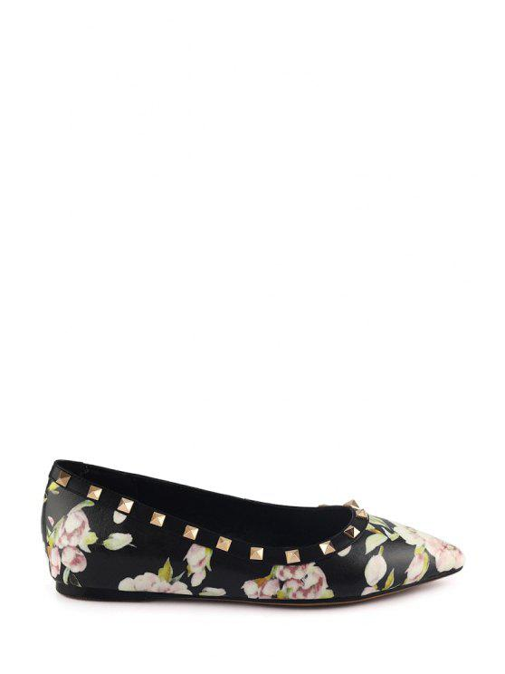 ladies Pointed Toe Flower Print Rivets Flat Shoes - BLACK 37