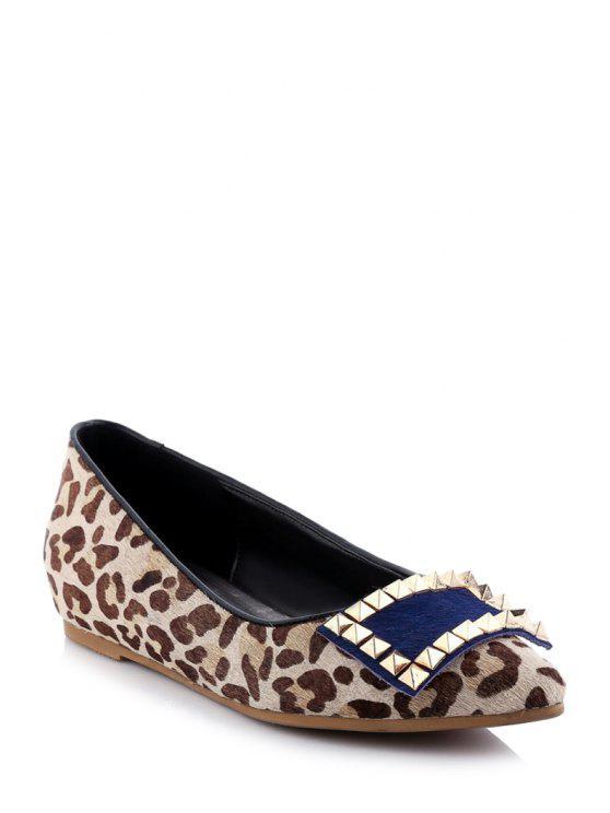 En punta del dedo del pie del estampado leopardo del remache zapatos planos - Leopardo 39