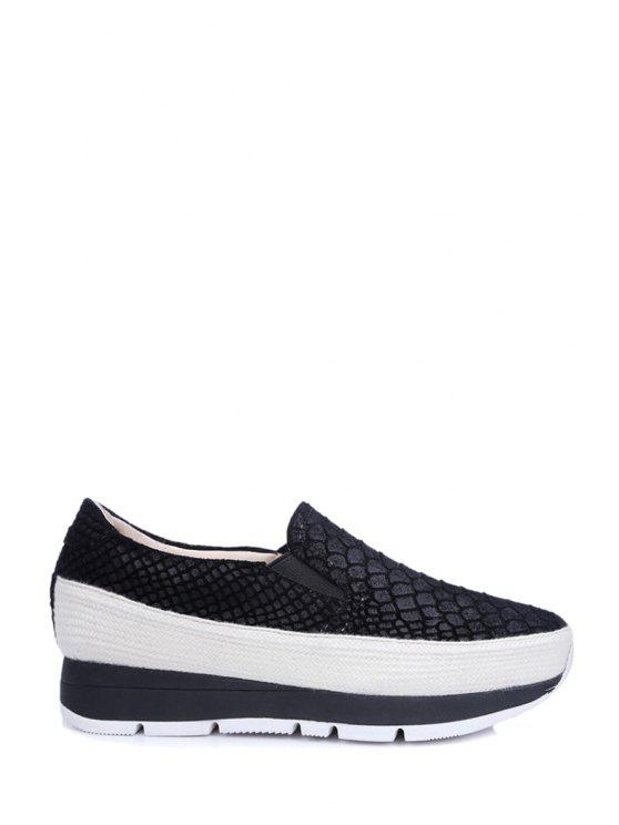 Gofrado elásticos plataforma de los zapatos de color sólido - Negro 35