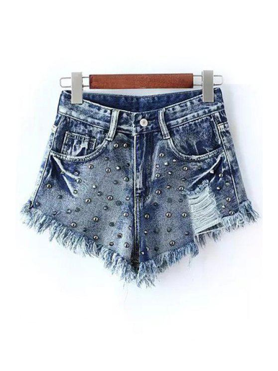 online Rivet Embellished Frayed Denim Shorts - BLUE S