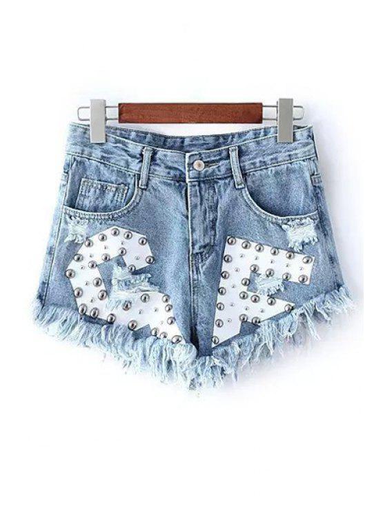 Pantalones cortos de mezclilla desgastados de remache Diseño - Azul Claro L