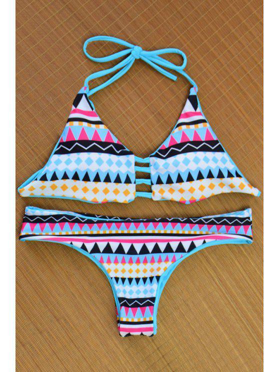 latest Colored Geometric Halter Reversible Bikini Set - COLORMIX S