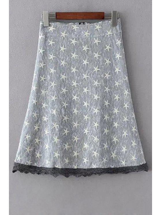 Polka Estrellas combinada de encaje una línea de Falda - Gris L