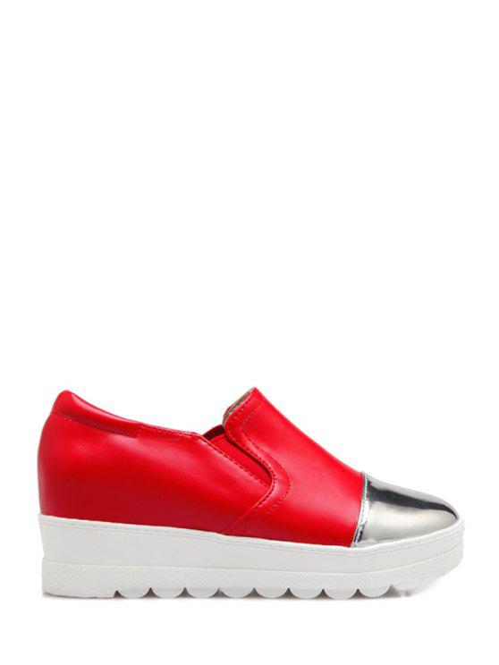 fashion Color Block Elastic Round Toe Platform Shoes - RED 34
